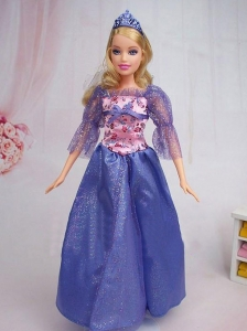 Elegant Blue Gown Sequin Made To Fit The Quinceanera Doll