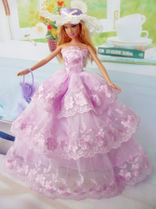 Elegant Pink Gown Organza Made To Fit The Quinceanera Doll
