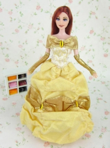 Elegant Yellow Party Clothes Fashion Dress Organza For Quinceanera Doll