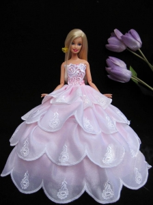 Embroidery Pink Ruffled Layers Ball Gown Quinceanera Doll Dress