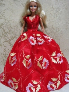 Embroidery Red Ball Gown Quinceanera Doll Dress
