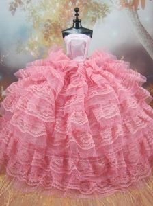 Exclusive Lace Decorate Ball Gown Pink Quinceanera Doll Dress