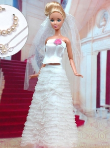Fashion Handmade Organza Quinceanera Doll White Wedding Dress For Quinceanera Doll