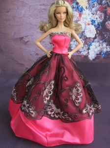 Fashionable Embroidery Ball Gown Hot Pink And Black Quinceanera Doll Dress