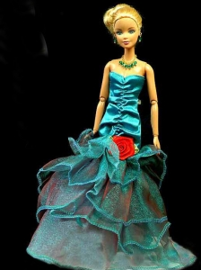 Gorgeous Teal Party Clothes Fashion Dress Sequins For Quinceanera Doll