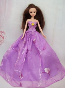 Hand Made Flower Embroidery Lavender Princess Party Clothes Gown For Quinceanera Doll Dress