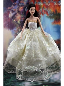 Lace Over Skirt And Ball Gown Made To Fit The Quinceanera Doll