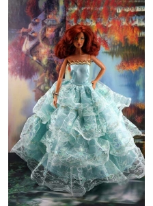 Lace Over Skirt And Light Blue Gown For Quinceanera Doll