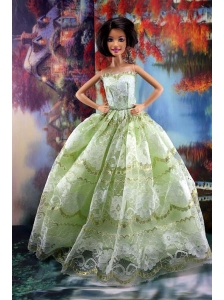 Lace Over Skirt Green For Sweet Quinceanera Doll Dress