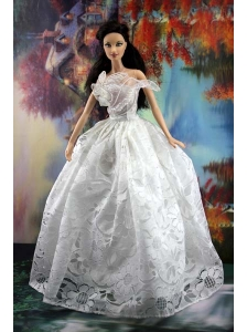 Lace White Off The Shoulder To Wedding Dress For Quinceanera Doll