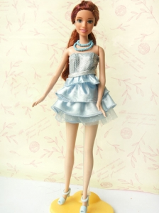 Light Blue Short Party Dress For Quinceanera Doll With Sequin And Ruffles