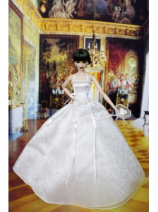 Lovely Wedding Dress For Barbie Doll With Hand Made Flowers
