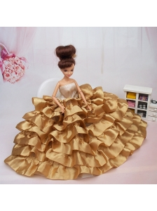 Luxurious Ball Gown Asymmetrical Gold Ruffled Layeres Clothes Party Fashion Dress For Quinceanera Doll