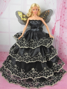 Luxurious Black Strapless Lace Ruffled Layeres Party Clothes Fashion Dress For Quinceanera Doll
