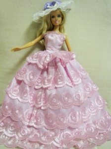Luxurious Handmade Quinceanera Doll Lace Wedding Dress For Quinceanera Doll