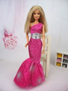 Luxurious Mermaid Asymmetrical Hot Pink Beaded Over Skirt Party Clothes Fashion Dress For Quinceanera Doll
