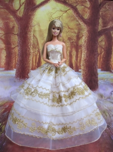Perfect Wedding Clothes Embroidery Ball Gown Gown For Quinceanera Doll