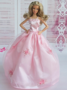 Pink Embroidery Ball Gown Taffeta And Organza Quinceanera Doll Dress