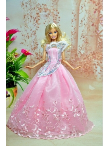 Pink Lovely Party Dress For Quinceanera Doll Dress With Embroidery