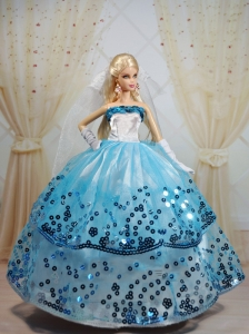 Popular Ball Gown Party Clothes White And Blue Quinceanera Doll Dress