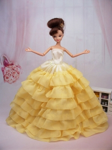 Popular Yellow Floor-length Party Clothes Fashion Dress For Quinceanera Doll