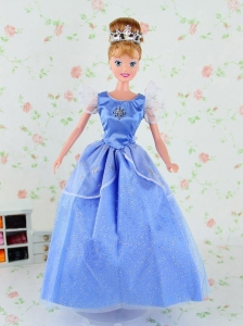 Pretty Tulle Party Dress For Blue Quinceanera Doll