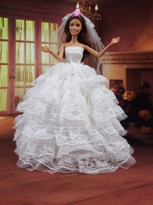 Romantic Wedding Dress To Quinceanera Doll With Ruffled Layers