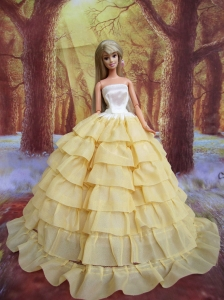 Ruffled Layers Decorate Ball Gown Light Yellow Quinceanera Doll Dress