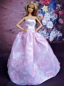 Simple Lilac Princess Embroidery Quinceanera Doll Dress