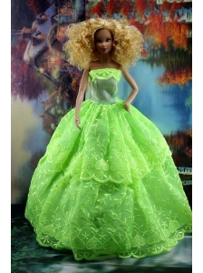 Spring Green And Lace For Amazing Quinceanera Doll Dress