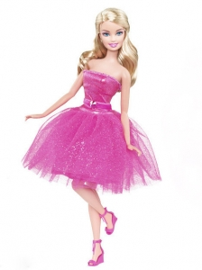 Lovely Princess Beading Sequin Hot Pink Gown For Quinceanera Doll