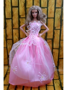 Fashion Princess Rose Pink Dress Gown For Quinceanera Doll