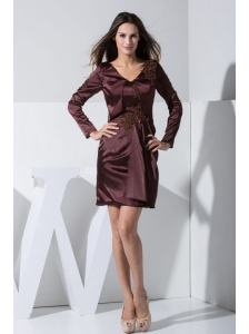 Appliques Decorate Bodice Burgundy Mini-length V-neck 2013 Mother Of The Bride Dress