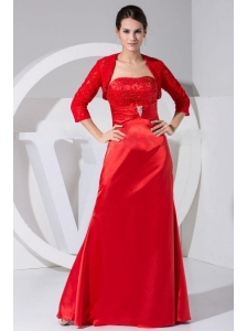 Beading and Embroidery Decorate Bodice Taffeta Red Floor-length Strapless 2013 Mother Of The Bride Dress