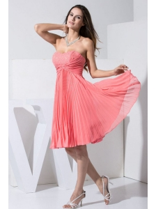 Beading and Pleat Decorate Bodice Knee-length Watermelon Red 2013 Prom / Homecoming Dress