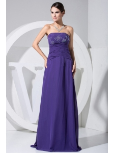 Beading and Ruch Decorate Bodice Purple 2013 Prom Dress Floor-length