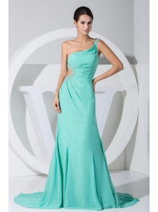 Beading Decorate Bodice One Shoulder Turquoise Chiffon Brush Train Prom Dress For 2013
