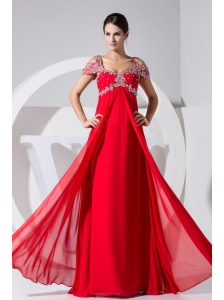 Beading Decorate Bodice Red Chiffon Straps 2013 Prom Dress Floor-length
