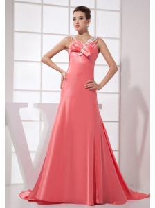 Beading Decorate Bodice Watermelon Red Taffeta Brush Train Straps 2013 Prom Dress
