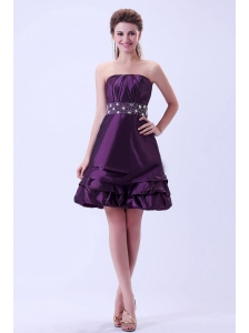 Dark Purple Beaded Prom / Homecoming Dress Knee-length