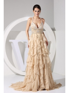 Embroidery and Ruffles Decorate Bodice Brush Train Champagne Straps 2013 Prom Dress