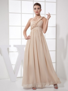 Hand Made Flowers Decorate Bodice Champagne Chiffon One Shoulder Ankle-length 2013 Prom Dress