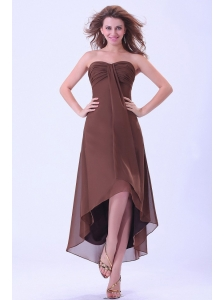 High-low Prom / Homecoming Dress With Sweetheart Brown Chiffon For Custom Made