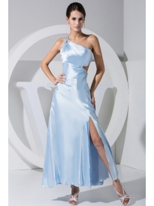 High Slit Beading Decorate Bodice One Shoulder Ankle-length Prom Dress For 2013