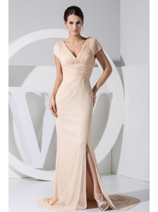High Slit Champagne V-neck 2013 Prom Dress Brush Train
