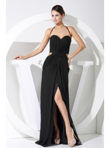 High Slit Halter Balck Chiffon Floor-length 2013 Prom Dress