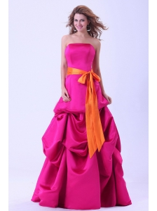 Hot Pink Prom Dress With Orange Sash and Pick-ups A-line Floor-length