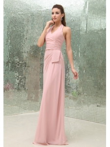 Light Pink Halter Prom Dress With Brush Train Chiffon