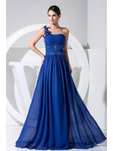 One Shoulder Beading and Hand Made Flowers Decorate Bodice Blue Chiffon Beaituful Prom Dress For 2013