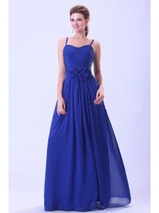 Royal Blue Prom / Evening Dress Spaghetti Straps Hand Made Flower Chiffon
